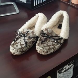 Coach Fur Slippers Size 9 Womens